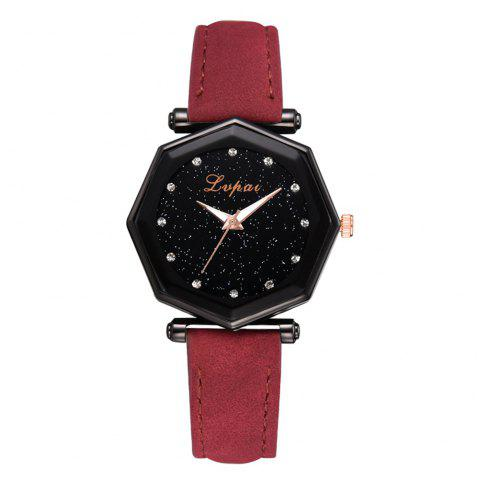 Lvpai P840 Star Lady Montre Mode Tempérament Casual Cuir PU Quartz Montre - Rouge