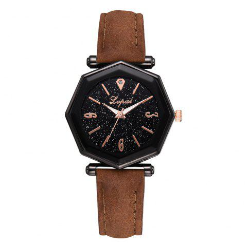 Lvpai P845 Star Watch Tendances de la mode féminine Simple montre de la femme étudiante - Brun