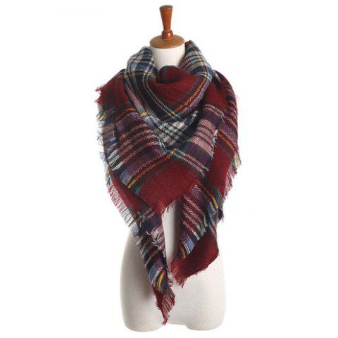 New Lady Fashion Colors Plaid Warm avec écharpe automne hiver pompon - multicolor R ONE SIZE