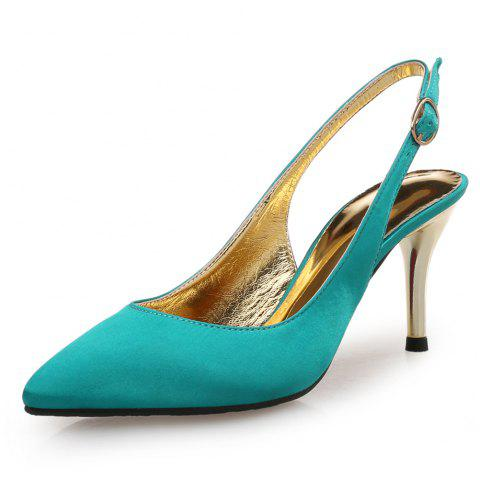 Pointed Satin Stiletto Stiletto One Word Buckle Women'S Shoes - GREENISH BLUE EU 37