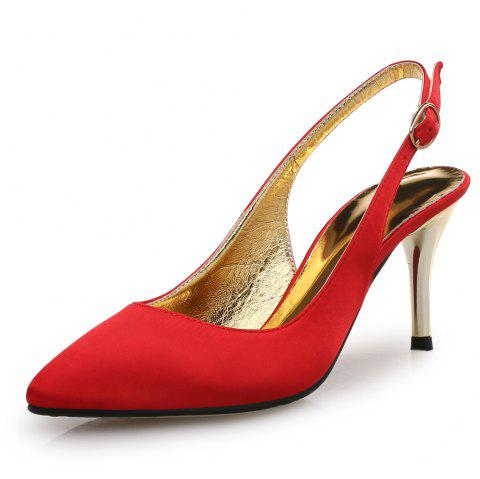 Pointed Satin Stiletto Stiletto One Word Buckle Women'S Shoes - RUBY RED EU 35