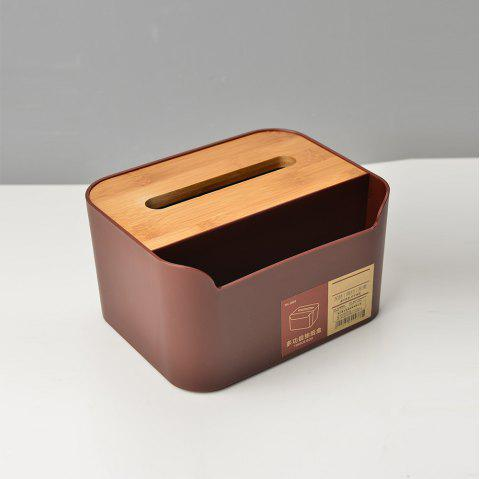 Bamboo Fiber Office Tissue Box Simple Style Multifunctional Wooden Tissue Holder - RED WINE