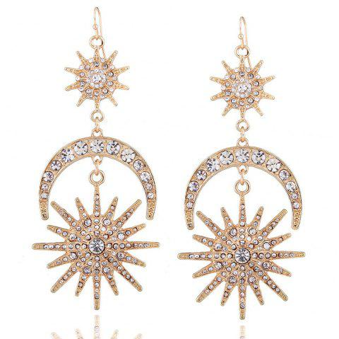 New Six-Man Star Earrings Fashionably Exaggerate The Sun and Moon Earrings - multicolor B 1 PAIR