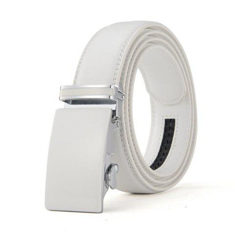 Adjustable Automsatic Ratchet Genuine Leather Belts for Mens - WHITE M