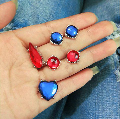 European and American Trend Jewelry Dazzling Red Sapphire Crystal Boho Earrings - multicolor A 6PCS