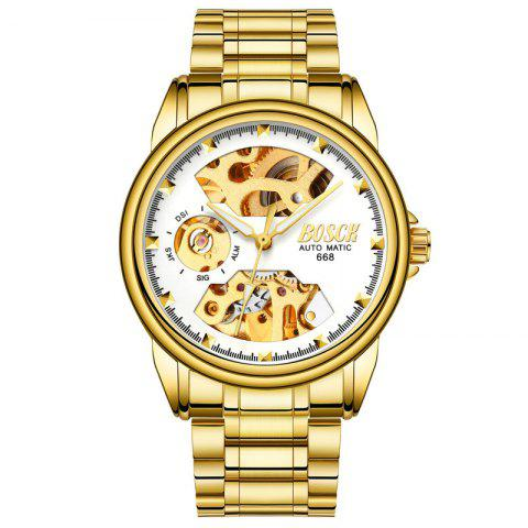 Men Hollow Gold-Plated Commercial Waterproof Mechanical Watch - WHITE