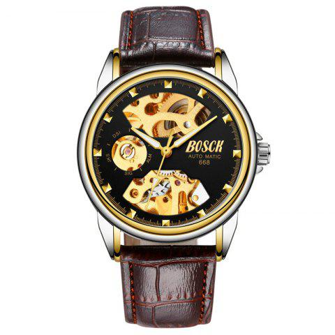 New Fashion Men Belt Business Automated Mechanics Watch - BLACK