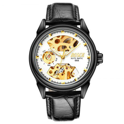 Classic Men Business Belt Sports Hollow-Out Automatic Mechanical Watch - WHITE