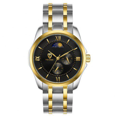 Tevise Automatic Mechanical Luminous Stainless Steel Strap Watch - multicolor C