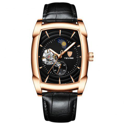 Tevise Rectangle Automatic Luminous Leather Strap Mechanical Watch - multicolor A