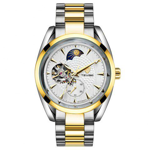 Tevise Waterproof Luminous Stainless Steel Strap Automatic Mechanical Watch - multicolor D
