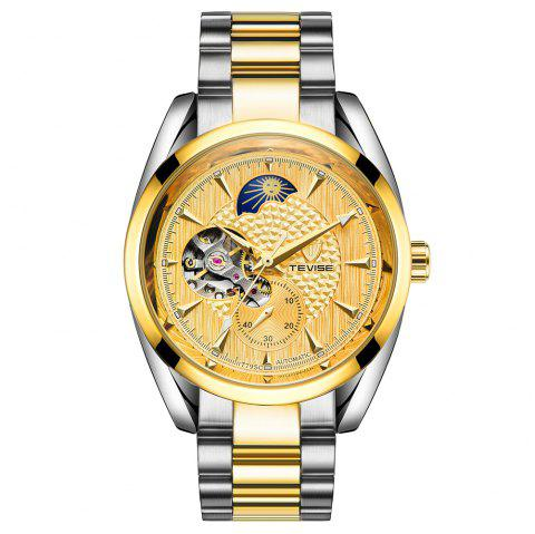 Tevise Waterproof Luminous Stainless Steel Strap Automatic Mechanical Watch - multicolor F
