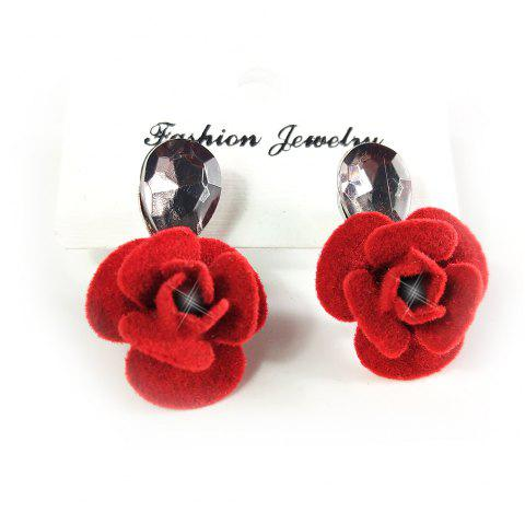 Fashion Versatile Temperament Personality Zircon Flower Ear Studs - RED