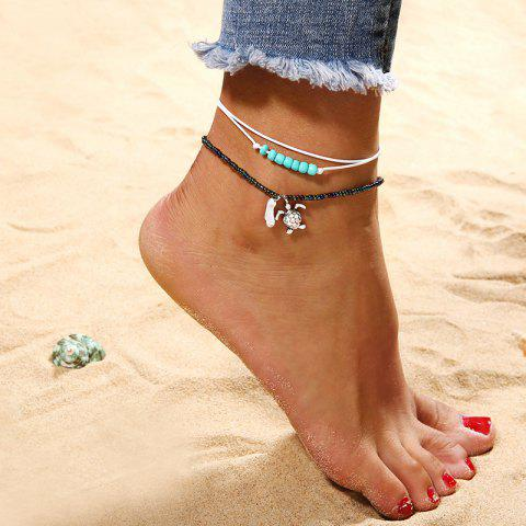 Fashion Turtle Beads Anklets Set Beach Chains - multicolor A 1 SET