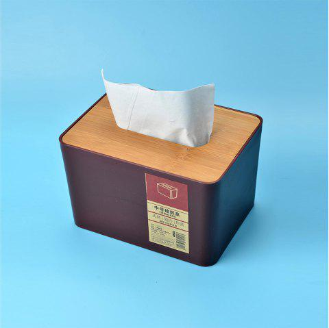 Desktop Wooden Tissue Box High Quality Creative Living Room Paper Tissue Box - RED WINE