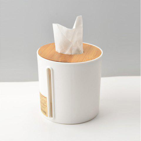 Tissue Storage Box Modern Simple Style Natural Wood Lid Multicolor Available - WHITE