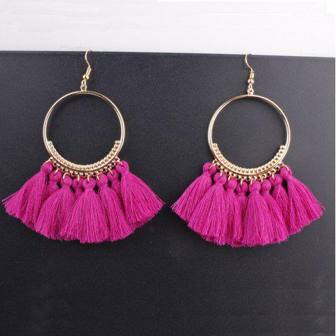 Bohemian Fringe Fan-Shaped Silk Earrings Vintage Exaggerated Alloy Earrings - ROSE RED 1 PAIR