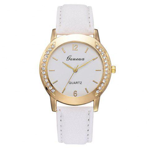 Xr3135 Casual Ladies Quartz Watch Fashion Two-Side Diamond Fashion Watch - WHITE