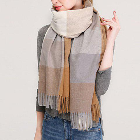 New Lady Fashion Plaid Autumn Winter Warm Shawl Scarf - LIGHT KHAKI ONE SIZE