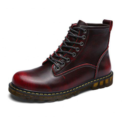 Women'S Fashionable Comfortable Cowhide Boots - RED WINE EU 37