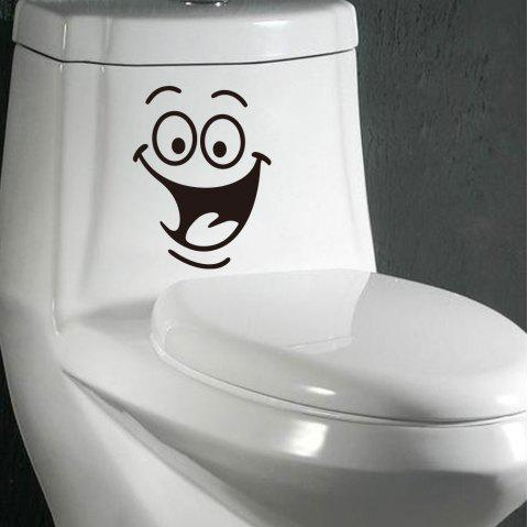 Funny Face Creative Toilet Sticker Removable Home Decorations - BLACK 18*24CM