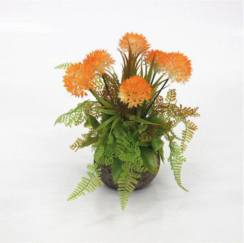 Simulated Green Planting Bonsai Decorative Ornaments with New Onion Ball Fake Fl - PUMPKIN ORANGE 1PC