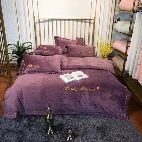European Thicken Crystal Wool Bedding Set 4 PCS - DULL PURPLE FULL