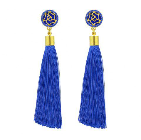Gold-Color With Colorful Rhinestone Flower Tassel Drop Earrings - DAY SKY BLUE