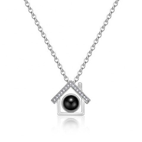 100 Kinds of I Love You Language Love Projection Necklace Small House Modeling - SILVER