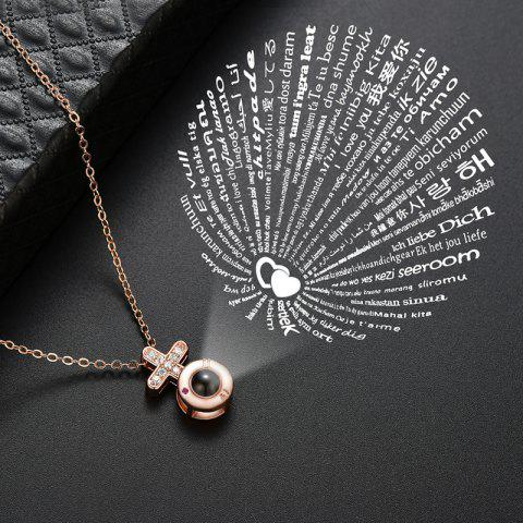 Cross-shaped projection Necklace 100 kinds of I love you language creativity - GOLD