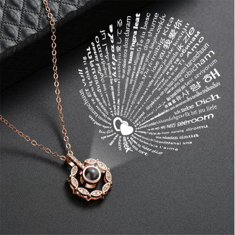 Geometric Pendant Necklace 100 kinds of I love you language love projection - SILVER