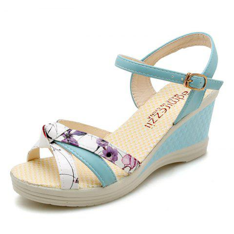 Waterproof Platform Womens Shoes High Heel Slope Sandals - PEACOCK BLUE EU 36