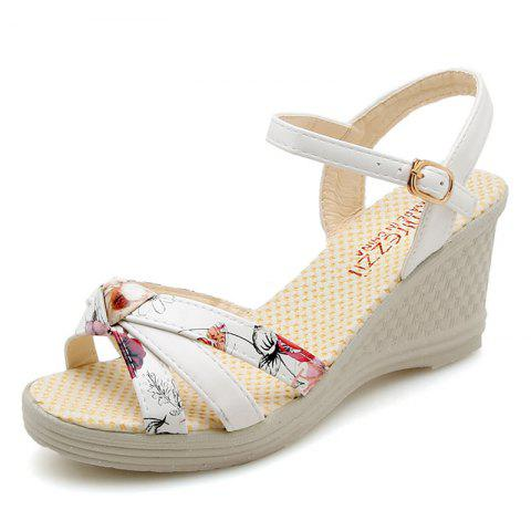 Waterproof Platform Womens Shoes High Heel Slope Sandals - WHITE EU 40