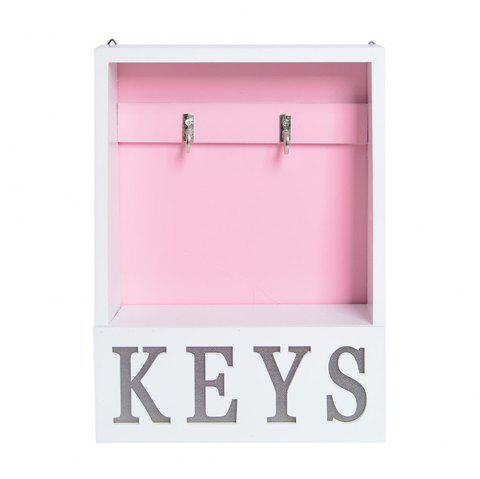 1 Pc Wall Mounted Wooden Board Key Rack Multi-Use Display Rack Wall Decor - PINK 18*7*25CM