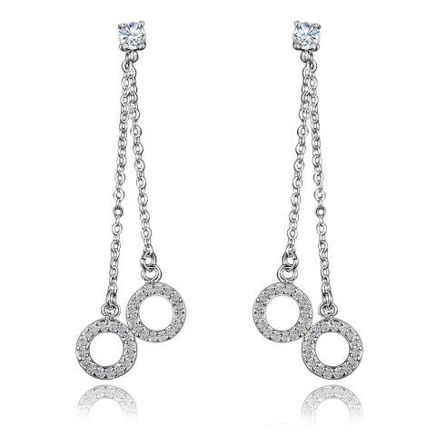 Fashion Earrings Long Section Tassel Pendant Size Circle Earrings For Gift - SILVER