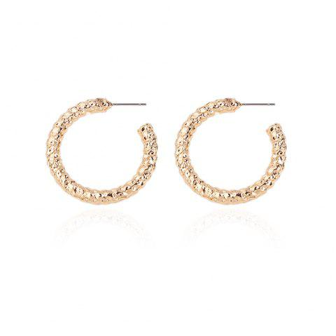 Golden Simple Temperament Round Earrings Earrings Exaggerated Alloy Earrings - GOLD 1 PAIR