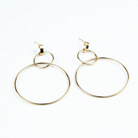 Two-Layer Size Ring Earrings Earrings Temperament Simple Alloy Earrings - GOLD 1 PAIR