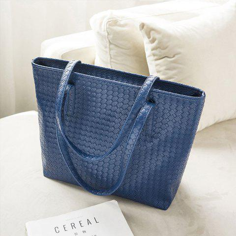 New Fashion Woven Bag Shopping Bag Tide Casual Simple Shoulder Bag Handbag - BLUE