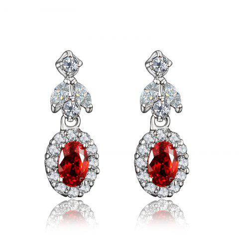 Elegant Earrings for Women 18K Gold Plated Metal Earing Fashion Jewelry - RED