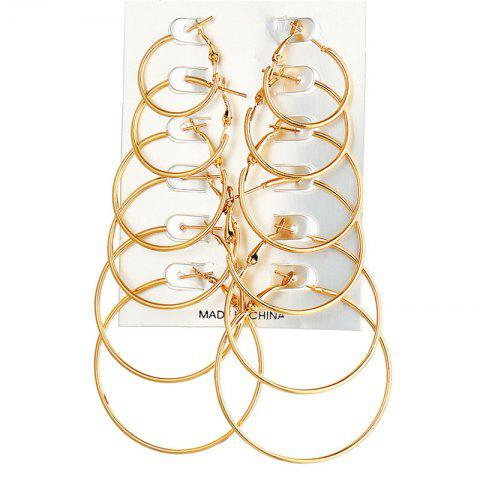 6-Pairs Simple Fashion Lady's  Earring - GOLD