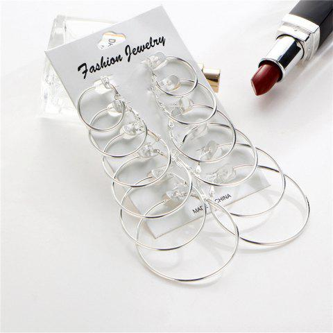 6-Pairs Simple Fashion Lady's  Earring - SILVER