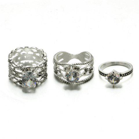 3 Pcs Sweet and Elegant Lady with Diamond Ring - SILVER RING SET