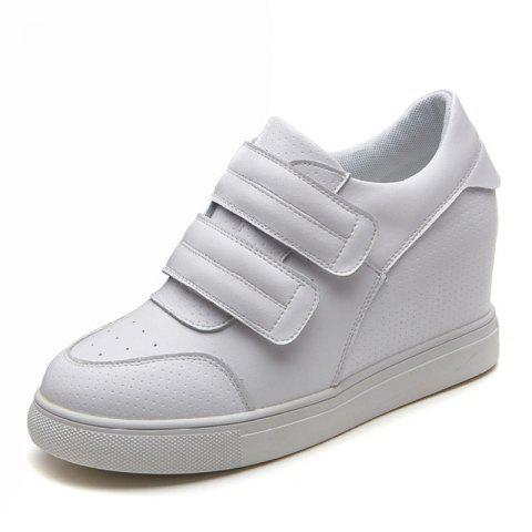 leather women's shoes 8cm inside thickening  sneakers women's shoes wild white - WHITE EU 38