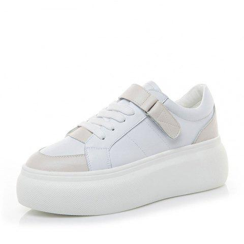 Leather White Shoes Autumn Version Sneakers Women Students Platform Casual Shoes - WHITE EU 39