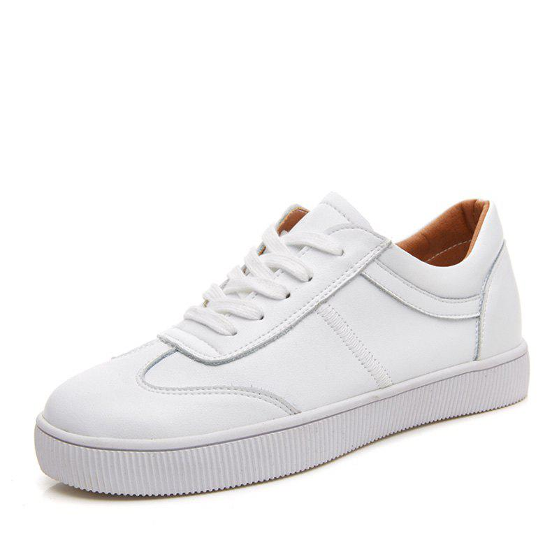 White Flat Sneakers Casual Shoes Women Trainers Lace Up Ladies Student Shoes - WHITE EU 39