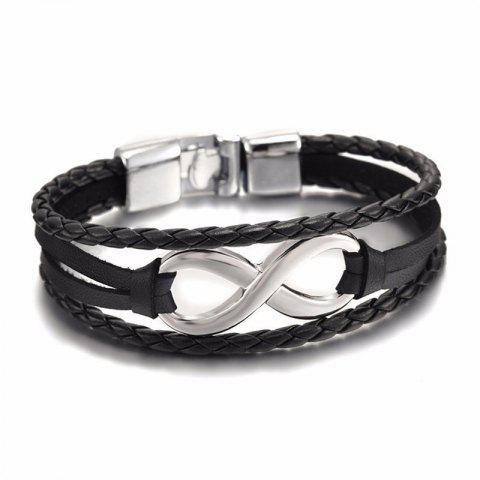 Trendy Men's 8-Word Leather Bracelet Bracelet - BLACK