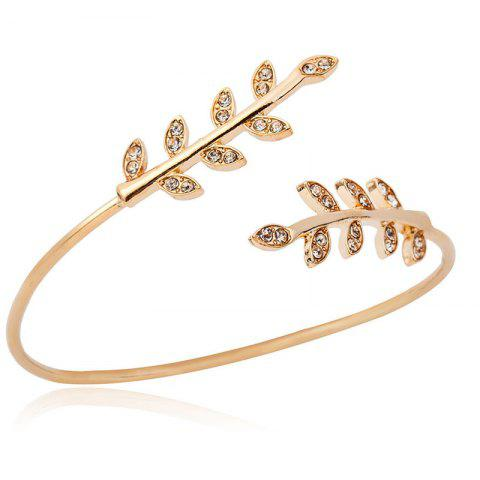 Fashion Baitao Ladies Leaf Bracelet with Drills - GOLD
