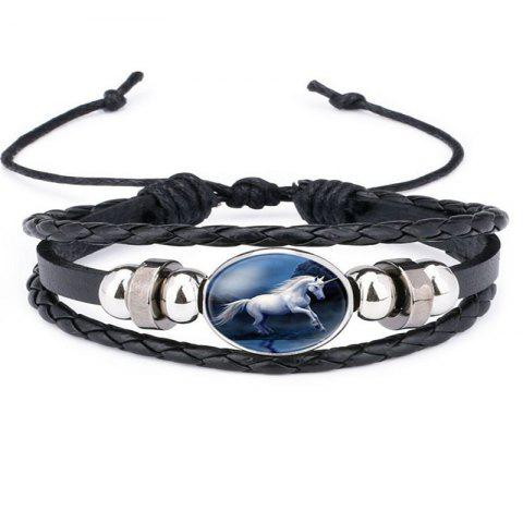Simple Temperament Men's White Horse Bracelet - BLACK