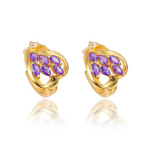 Heart -Shaped Stud Earring with18K Gold Plated Jewelry for Women - multicolor H