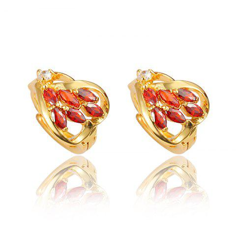 Heart -Shaped Stud Earring with18K Gold Plated Jewelry for Women - multicolor I